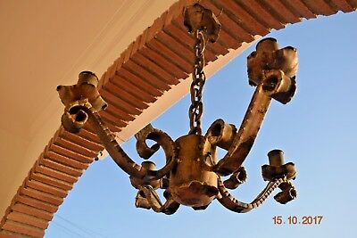 Old  French Iron Chandelier Gothic Superb