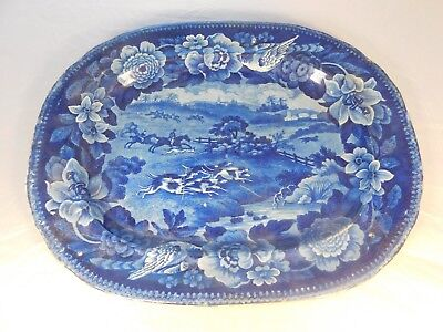 ANTIQUE EARLY 1800's BLUE ENGLISH FOX HUNTING SCENE PLATTER