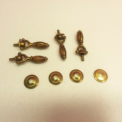 Vintage Set Of 4 Brass & Wood Dresser Drawer Pull Knobs With Bezels   (K-8)