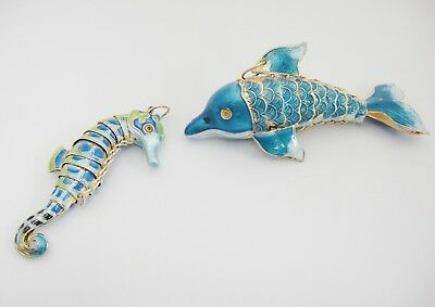 Enameled Lot Dolphin and Sea Horse Ornaments Articulated Blue and Green Gilded