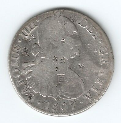 1807 Silver Spanish Colonial 8 Reals Piece Of 8. Full Of Chinese China Chop Mark