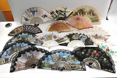 Job Lot of Approx 15 Vintage and Modern FOLDING HAND FANS - L33