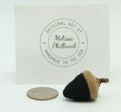 Halloween Black Needle Felted Wool Acorn Folk Art Bowl Filler Melissa Philbrook