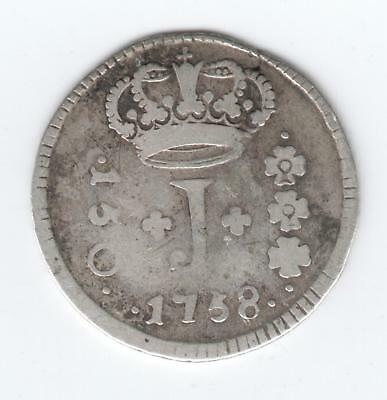 BRAZIL SILVER 150 REIS coin 1758 4.10 g  auction starts at £1 SCARCE COIN