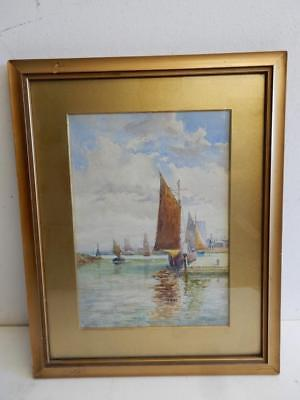 old PAINTING SEA SAIL BOATS OLD SHOREHAM signed