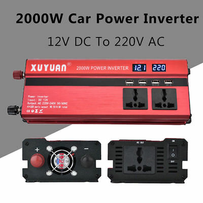 2000W Car LED Power Inverter Converter DC 12V To AC 110V 4 USB Charger Adapter