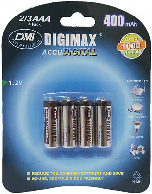 4 x Digimax 2/3 AAA 400 mAh Rechargeable Batteries iDect Phone