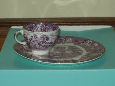 Enoch Wood & Son English Scenery Purple 2 Piece Tea and Toast Set - 2 Available