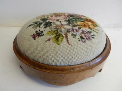 REALLY OLD antique tapestry FOOT STOOL
