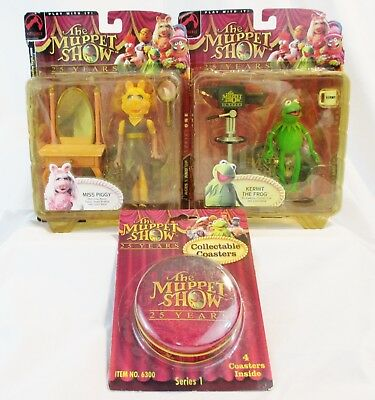 Muppet Show 25 Years Collectible Kermit Miss Piggy & Coasters SEALED LOT (579)