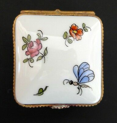 Tiffany & Co. Hand Painted Flowers & Bugs Porcelain Trinket Box Made In Limoges