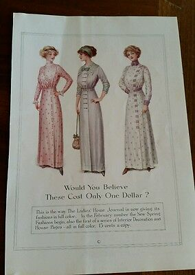 McCall's Advertisement 1912 Color Dress Fashion for Ladies Home Journal 2 Sided