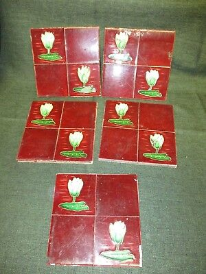 """Five Antique Fireplace Tiles, Water Lilies on Magenta, England  6"""" x 6"""""""