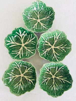 Beautiful Bordallo Pinheiro Green Cabbage Lot of 5 Soup Bowls  - MINT #12