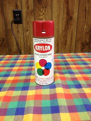 VINTAGE KRYLON NOTCH TOP AMERICAN BEAUTY RED Spray Paint CAN  Harvester Red