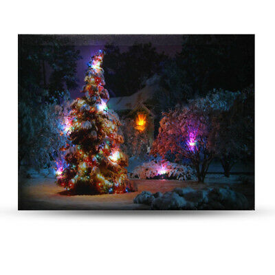 40x30cm LED Light Christmas Tree Canvas Art Picture Printing Houses Wall Decor