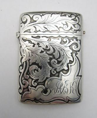 Art Nouveau Sterling Silver Vesta Case or Match Safe Large Acanthus Fern Leaves
