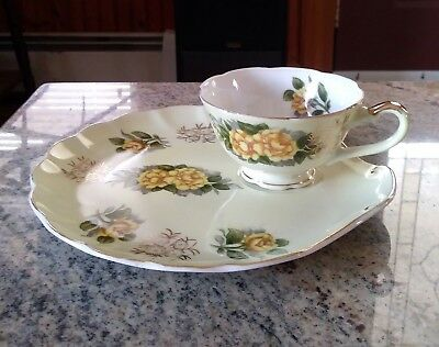 Vintage Lefton China Yellow Roses & Gold Floral Porcelain Snack Plate & Cup