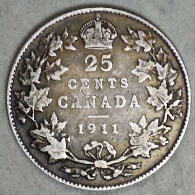 Canada 1911 25 Cents Silver Coin