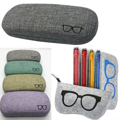 Portable Eye Glasses Sunglasses Hard Case Protector Box Pouch Bag Cleaning Cloth