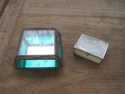 Very Sm Glass & Brass Display Box, Green & Clear + Smaller Shell Box, Cute Pair!