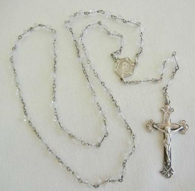 Vintage Sterling Silver & Cut Bicone Crystal Bead Rosary