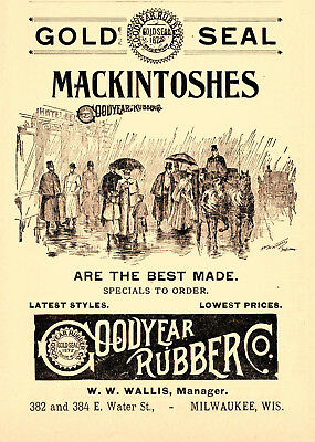1899 Goodyear Rubber Co, Milwaukee, Wisconsin Mackintoshes Shoes Advertisement