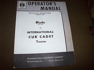 1961 International 42-Inch Blade Operator's Manual for Cub Cadet Lawn Tractor