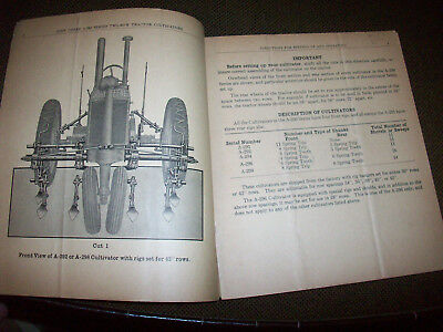 1935 John Deere A-291 292 294 296 298 Tractor Cultivator Operating Manual