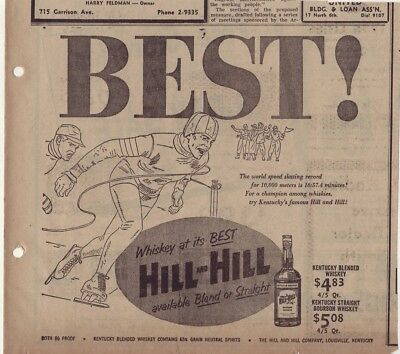 1953 newspaper ad for Hill and Hill Whiskey - Speed Skater, skating record
