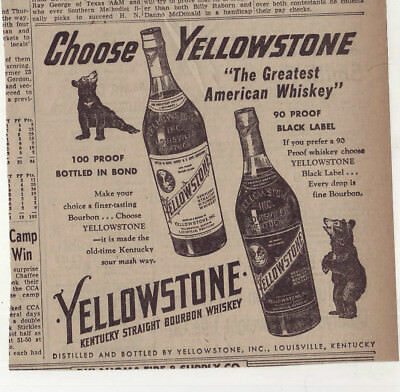 1953 newspaper ad for Yellowstone Bourbon Whiskey  - admiring bears, bottles