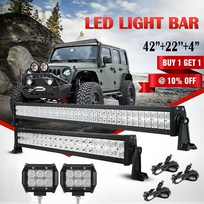 "42"" 560W PHILIPS Combo LED Work Light Bar+2X4""+22"" 280W 4X4 4WD Truck SUV Jeep"