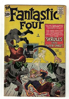 Marvel comics Fantastic four 2 1961 VG 4.0 Super 1st appearance skrull