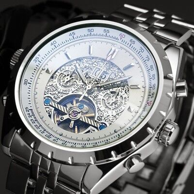 Automatic Mechanical Watch Mens Tourbillon Silver Luxury Date Stainless Steel