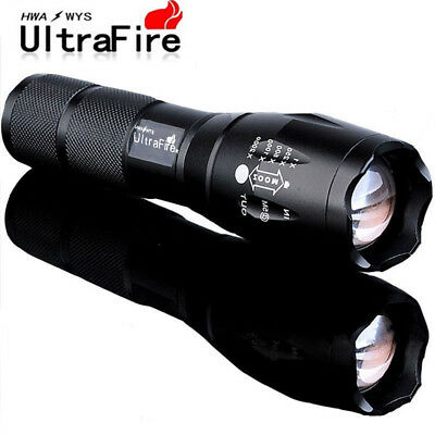 100000LM Military T6 LED Flashlight Torch 5 Modes Zoom Tactical 18650 Lamp Light
