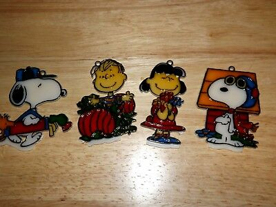 Lot Of 4 Stained Glass Peanuts /snoopy/linus/lucy Ornaments