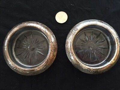 Vintage Sterling Silver & Cut Glass Frank Whiting Coasters set of 2 scrap /not