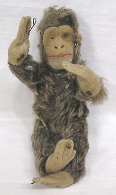 Vtg Toy Monkey Doll Curly Hair Felt Movable Arms Legs 1940s