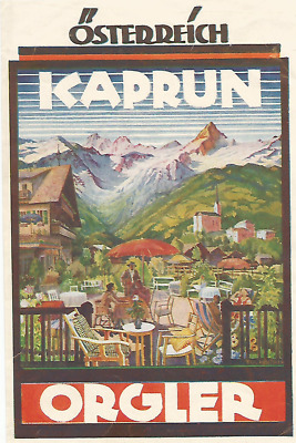 HOTEL ORGLER luggage AUSTRIA DECO label (KAPRUN)