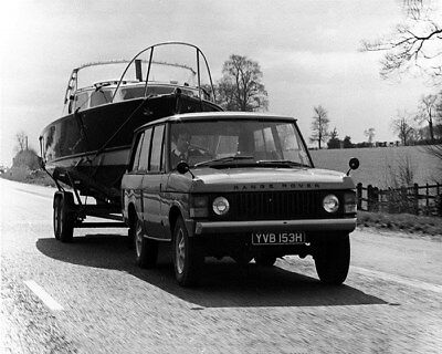 1971 Range Rover Towing a Boat Factory Photo cb0352
