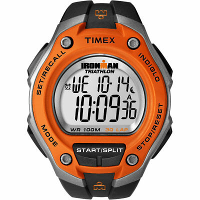 Timex Mens Ironman Triathlon Digital Watch Black/Orange Unisex New UK T5K529