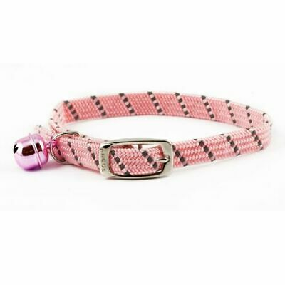 Ancol Reflective Softweave Cat Collar Pink Elastic Safety Buckle