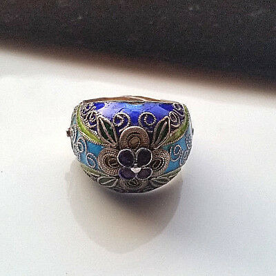 Vintage Chin. Ring Emaille + 925 Sterling Silber + Handarbeit
