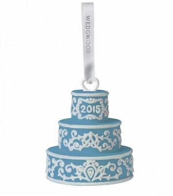 2015 Wedgwood Blue Our First Christmas Together Wedding Cake Porcelain Ornament