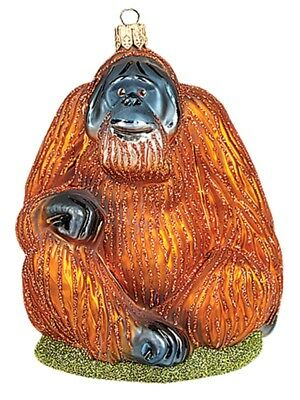 Orangutan Monkey Polish Mouth Blown Glass Christmas Ornament  Tree Decoration