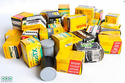 40 Rolls of 35mm Black + White Date Expired Film . Kodak + Ilford AS/IS