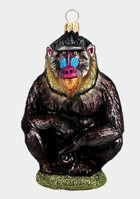 Mandrill Baboon Monkey Polish Mouth Blown Glass Christmas Ornament Decoration