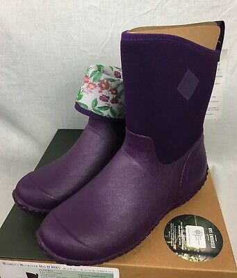 New Muck Muckster Mid Ii Boot Purple Floral Womens Garden Waterproof Fast Ship