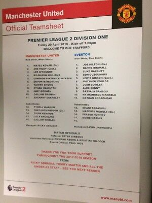 Manchester United Man Utd U23 v Everton Under 23 Reserves Team-sheet 20/4/18