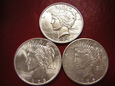 Lot of 3 Peace Silver Dollars  / 1922 1923 1925-s  /  U S Coins 127
